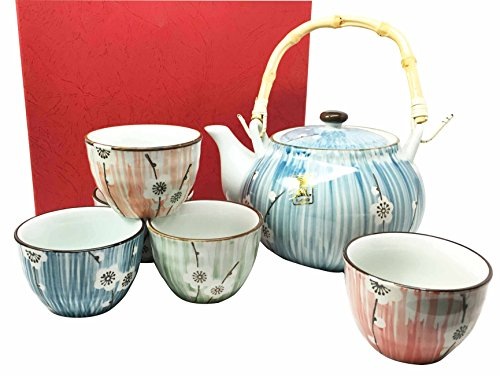 Ebros Gift Japanese Design Four Seasons White Cherry Blossom Ceramic Tea Pot and Cups Set Serves 5 Guests Excellent Home Decor Asian Living