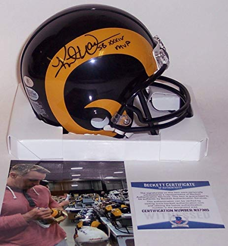 Kurt Warner Autographed Hand Signed St. Louis Rams Riddell Mini Football Helmet - with Super Bowl XXXIV MVP inscription - BAS Beckett Authentication