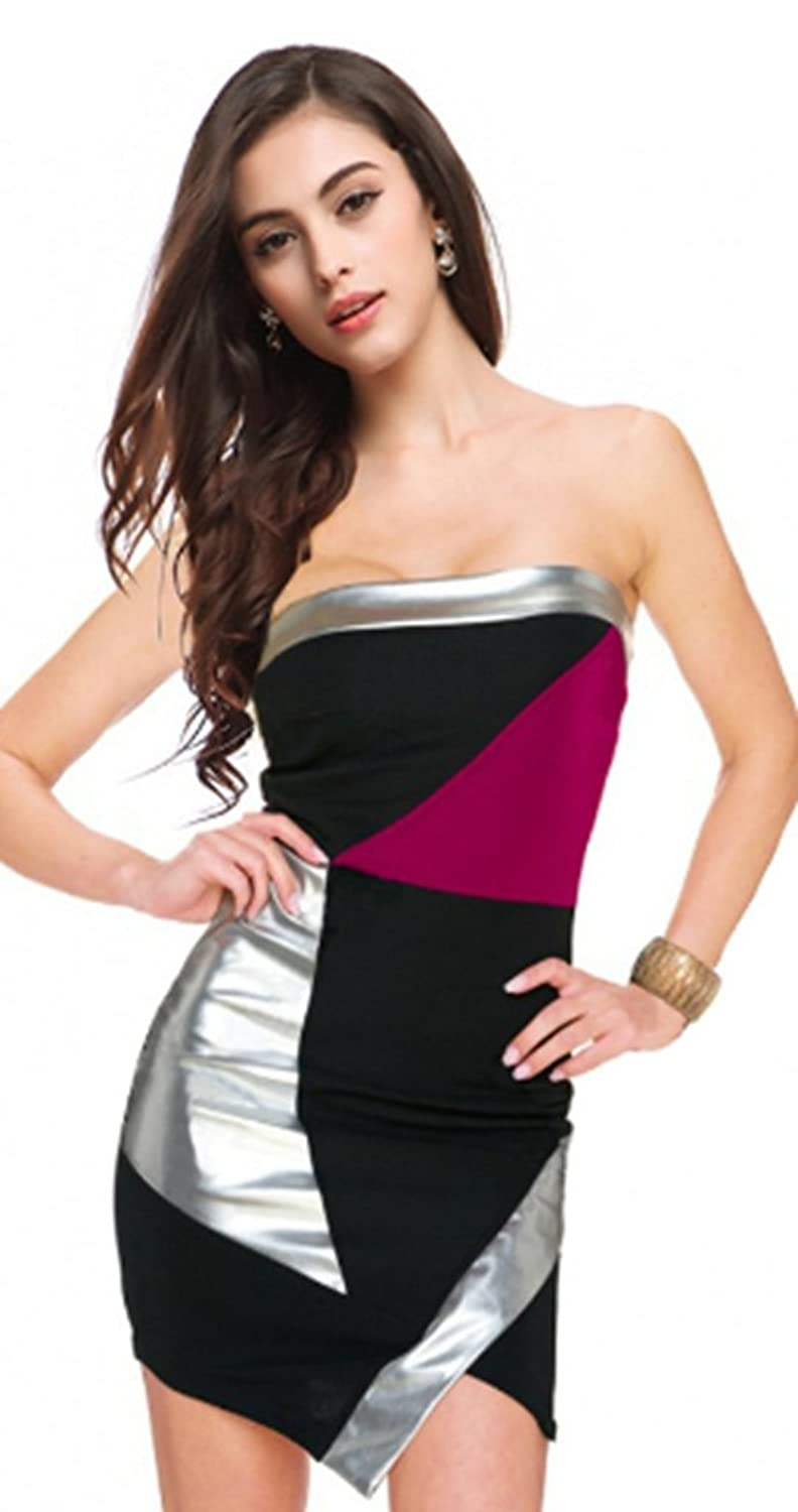 CRC Women's Block Strapless Backless Tube Top Sexy Clubwear Party Bodycon Dress