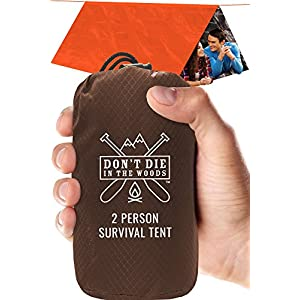 Don't Die In The Woods World's Toughest Ultralight Survival Tent • 2 Person Mylar Emergency Shelter Tube Tent + Paracord • Year-Round All Weather Protection for Hiking, Camping, Outdoor Survival Kits