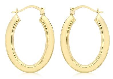 dcd2d1c225957 Genuine 9ct Yellow Gold Polished Oval Creole Earrings: Amazon.co.uk ...