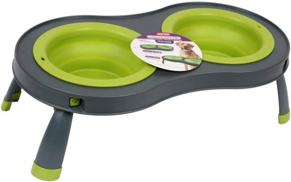 Dexas Popware For Pets Double Elevated Pet Feeder, Large, Gray/Green