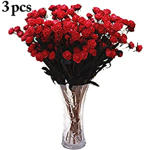 Coxeer Rose Flower Bunches, 3 Bunches Artificial Rose Flower 15 Heads Fake Rose Flowers Home Decor Wedding Party Decoration 85