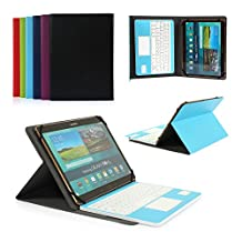 CoastaCloud Pu Leather Folio Bluetooth Keyboard Case Cover for Samsung Galaxy Tab S2 9.7 T815C/T810 and Tab A 9.7 T555C/T550 with QWERTY Layout Removable Keyboard and Touchpad Sky Blue