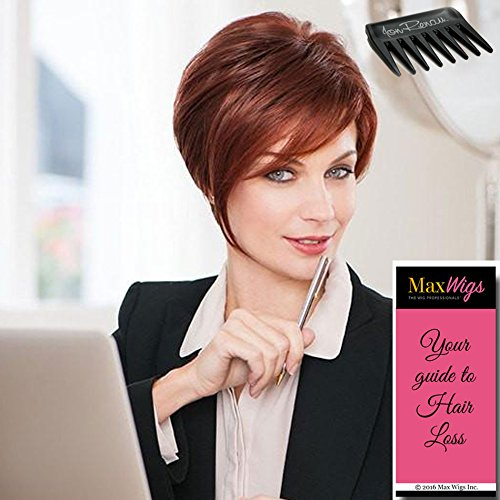 - Salon Sleek Wig Color GL 33-130 SANGRIA - Gabor Wigs Petite Cap Short Asymmetrical Sassy Cut Monofilament Part Hand-Tied Flexlite Synthetic Bundle w/Comb, MaxWigs Hairloss Booklet