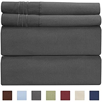 Full Size Sheet Set - 4 Piece - Hotel Luxury Bed Sheets - Extra Soft - Deep Pockets - Easy Fit - Breathable & Cooling Sheets - Wrinkle Free - Comfy - Dark Grey Bed Sheets - Fulls Sheets - 4 PC