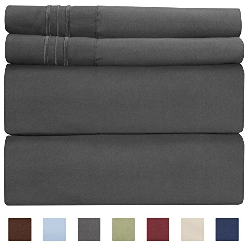 Queen Size Sheet Set - 4 Piece - Hotel Luxury Bed Sheets - Extra Soft - Deep Pockets - Easy Fit - Breathable & Cooling Sheets - Wrinkle Free - Comfy - Dark Grey Bed Sheets - Queens Sheets - 4 PC