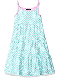 Girls' Geo Print Tiered Dress With Contrast Binding