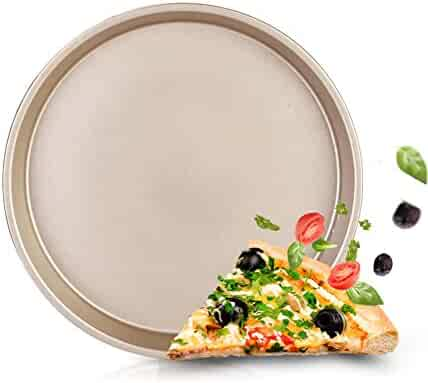 Durable Nonstick Carbon Steel Deep Dish Pizza Pie pan - GRILL Pan For Cooking Baking Grilling - 9