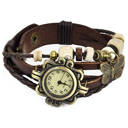 Veroda Women's Classic Leather Strap Bracelet Wrist Watch Color Coffee