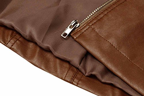 HOTOUCH Womens Faux Leather Zip Up Moto Biker Jacket Coffee M by Hotouch (Image #6)