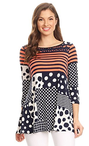 Love My Seamless Women's Ladies Striped Polka Dot Print Fashion Tunic Top Loose Fit Boat Neck 3/4 Sleeve