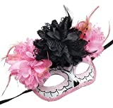 Coolwife Womens Masquerade Mask Mexican Day of The Dead Sugar Skull Eyemask Masque Fancy Dress (ZB Pink)