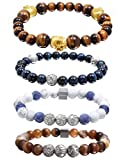 Natural Precious Gemstone Onyx 8mm Beads Bracelets for Men Agate Stone Bracelet for Mens Tiger Eye Bracelet with Stainless Steel Charm COOLUXU