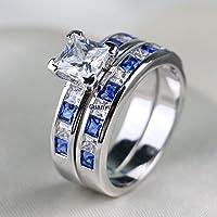 LALISA Princess cut 6mm Zircon Sapphire 10k White Gold Filled Womens Wedding Ring Sets (6)