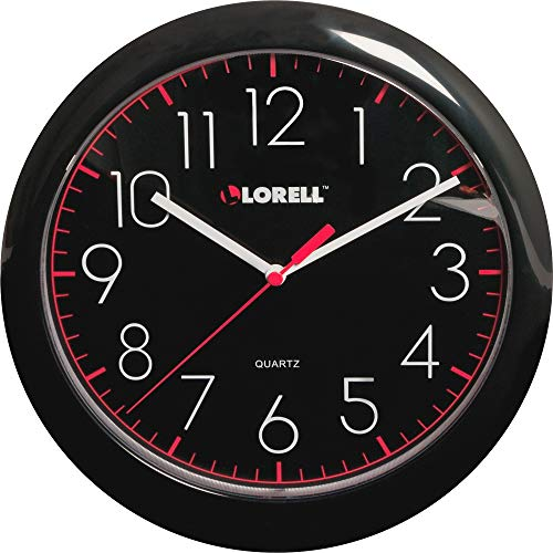 Fonies shop Lorell 60995 Wall Clock, 10, Arabic Numerals, Black Frame/Face
