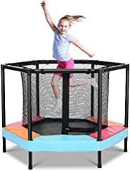ONETWOFIT 4FT Recreational Mini Trampoline for Kids with Enclosure Net Zipper Spring Pad Indoor/Outdoor Trampo