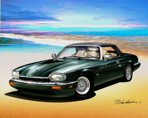 1994 JAGUAR XJS (British racing green)- ART PRINT POSTER BY ARTIST DANNY WHITFIELD SIZE 20 X 24