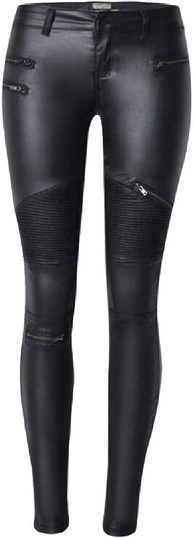 KLJR Men Moto Biker Pockets Faux Leather Stretchy Casual Pants Trousers