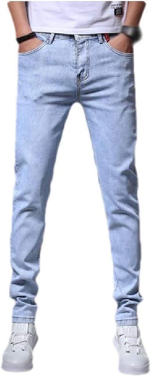 Kankanluck メンズカジュアルなルーズウォッシュドヴォーグストレートフィットデニムパンツポケット付き
