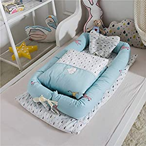 Abreeze Baby Bassinet for Bed -Party-Blue Baby Lounger Including Comforter- Breathable & Hypoallergenic Co-Sleeping Baby Bed – 100% Cotton Portable Crib for Bedroom/Travel 0-24 Months