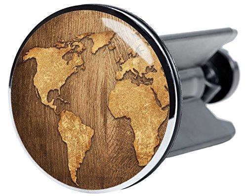 Waschbeckenstöpsel World Map, passend für alle handelsüblichen Waschbecken, hochwertige Qualität ✶✶✶✶✶ hochwertige Qualität ✶✶✶✶✶ Sanilo