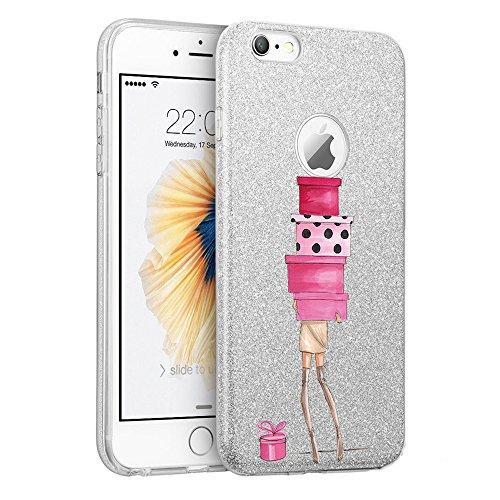 Qissy? Cover iPhone 7 4,7 pollici la copertura di scintillio TPU copertura Glitter Paper PP strato interno elefante verde ragazza