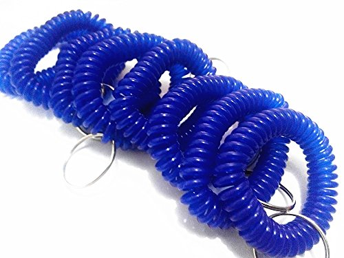 JKing Set of 12 New Plastic Stretch Wrist Key Coil Wrist Band Key Ring Key Chains Key Holders for Outdoor Sport (Blue) (Plastic Key Tags Numbers)