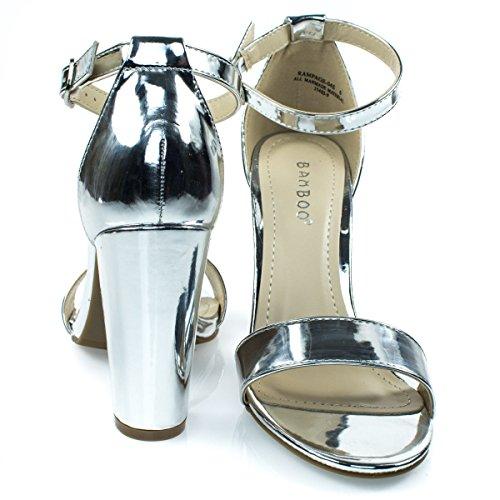 Sandalo Con Cinturino Alla Caviglia A Fascia Singola In Bambù Con Cinturino Alla Caviglia (11, Argento)