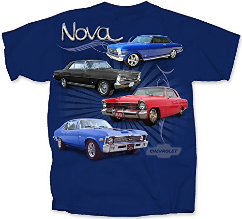 Gildan Men's Chevrolet 4 Vintage Chevy Novas T-Shirt, Medium, Metro Blue