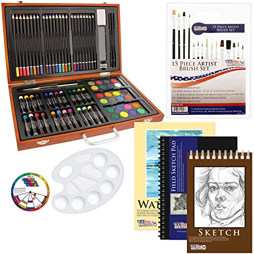 US Art Supply 82 Piece Deluxe Art Creativity Set in Wooden Case with Bonus 20 Additional Pieces - Deluxe Art - Art Drawing Supplies