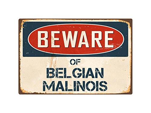 "Beware Of Belgian Malinois 8"" x 12"" Vintage Aluminum Retro Metal Sign VS048 (Belgian Malinois Sticker)"