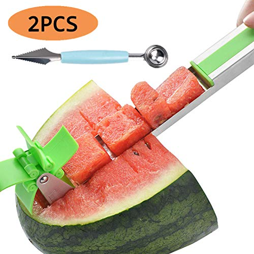 SUTENI Watermelon Slicer Cutter Fruit Cutter Stainless Steel Watermelon Slicer Cutter and Melon Ball Scoop Fruit Vegetable Tools Kitchen Utensil Kit