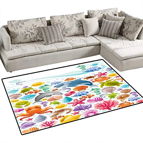Tropical Animals Kids Carpet Playmat Rug Diving Sea Animals Collection with Marine Objects Whale Corals Underwater Door Mats for Inside Non Slip Backing 4'x6' Multicolor