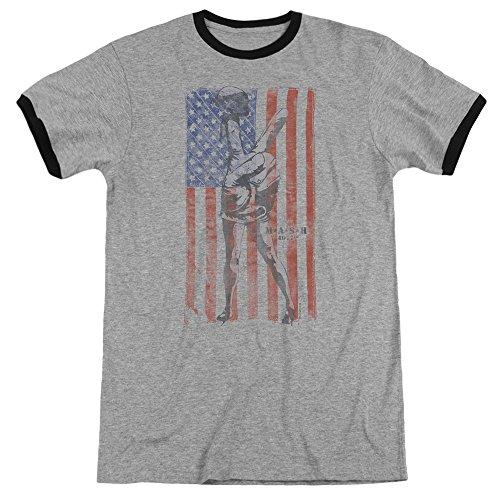 Mash Hang Em High Mens Adult Heather Ringer Shirt Heather/Black Sm