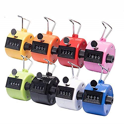 Fomatrade Pack of 12 Color Hand Tally Counter 4 Digit Mechanical Palm Click Counter Count Clicker Assorted Color Hand Held Counter Clicker for Sport/Stadium/Coach and Other Event