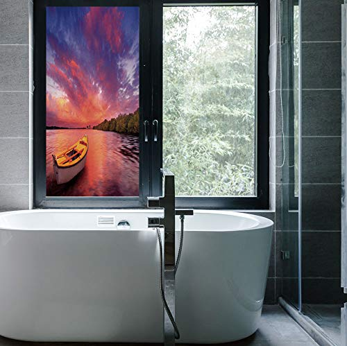 C COABALLA Privacy Window Film Decorative,Sunset Decor,for Glass Non-Adhesive,Enchanted Coast with a Rowboat Under Magical Hazy,24''x48'' ()