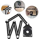 JIAN YA NA Angleizer Template Tool Full Metal Scratch-Proof Multi Functional Ruler Aluminum Alloy Easy Angle Measuring Tool for Builders Roofers Tilers Handymen Craftsmen (Six Sides)