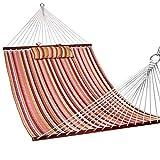 Lazy Daze Hammocks Quilted Fabric Double Size Spreader Bar Heavy Duty Stylish Hammock Swing Pillow Two Person, Rainbow
