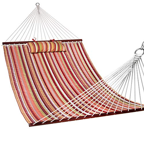Lazy Daze Hammocks Quilted Fabric Double Size Spreader Bar Heavy Duty Stylish Hammock Swing Pillow Two Person, Rainbow (Large Hammock Fabric Quilted)