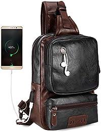 Men Sling Backpack External USB Charge Men Crossbody Bag Large Capacity Casual Travel Man Bag