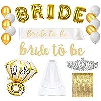 Bachelorette Party Decorations & Supplies - Gold Bridal Shower Favors Kit (Engagement Accessories & Decor Pack - Bride Banner, Sash, Balloons, Veil, Foil Fringe Curtain, Rhinestone Tiara)