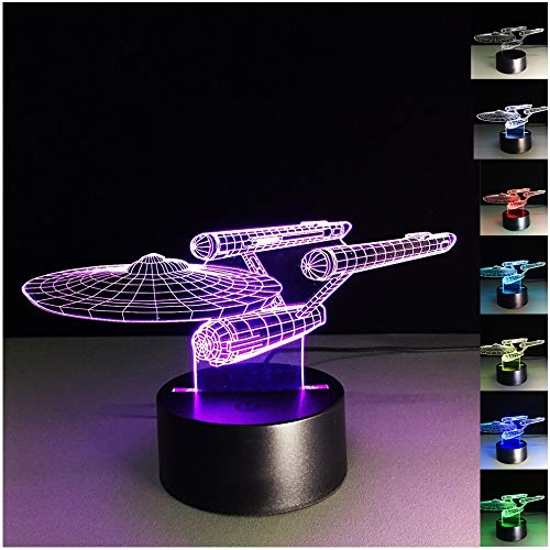 HU XUE GUANG Star Trek 3D Illusion Lamp 7 Color Changing Star Trek LED 3D lamp Desk Decor 3D Night Light for Kids Home Decorations for Living Room