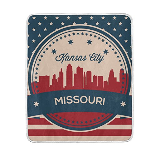 - Vintage American Flag Missouri State Kansas Skyline Blanket, Lightweight Polyester Throw Blankets for Bed Couch Sofa Travelling Camping, 50 x 60 Inch