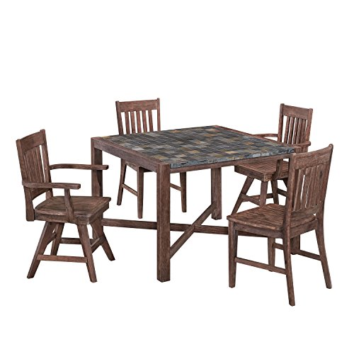 Home Styles 5601-3758 Square Table, Two Arm and Swivel Chairs Morocco Dining Set (5 Piece)