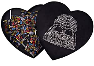 Star Wars Darth Vader Valentines Day Heart Shape Felt Box with Lollipop Candy, 10 Inch