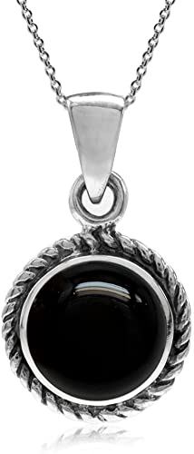 925 Silver Plated Grey Onyx Pendant 3 INCH