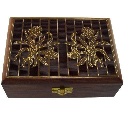 [Indian Jewelry Holder - 7 x 5 x 2.5 Inch large Wood Box - Jewelry Boxes for Bracelet - Anniversary] (Indian Costume Ideas For Women)