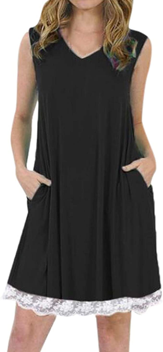 AIFGR Falda de señora Damas Cuello en V sin Mangas Correa de Espagueti Remiendo del cordón Vestido Llano del Cambio Vestido de Noche del Partido(Negro, XXL): Amazon.es: Ropa y accesorios