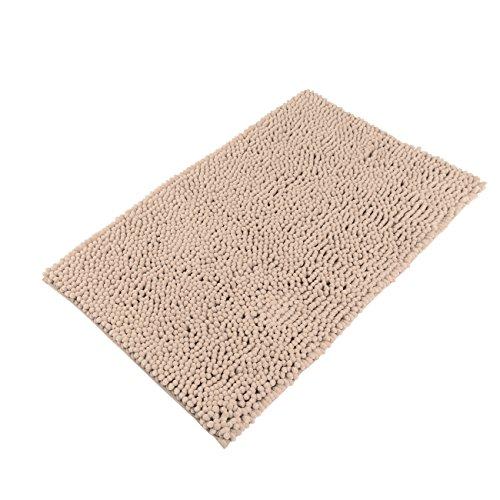 "Sunnyglade 23.6"" X 35.4"" Non-slip Chenille Fabric Microfiber Bathroom Mat Soft Shaggy Bathroom Mat Shower Rug (Corse, Light Tan)"